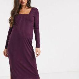 ASOS DESIGN Maternity long sleeve square neck rib midi dress | ASOS (Global)