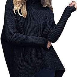 Poetsky Womens Turtleneck Pullover Sweater Loose Batwing Sleeve Knit Oversized Asymmetric Tunic T...   Amazon (US)