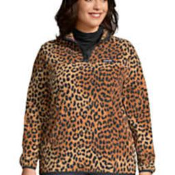 Women's Plus Size Heritage Fleece Snap Neck Pullover Top   Lands' End (US)