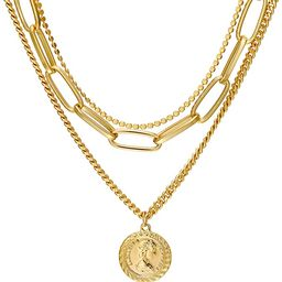 Layered Pendant Necklace 18K Gold Plated Queen Elizabeth Coin Chunky Chain Vintage Valentine's Da... | Amazon (US)