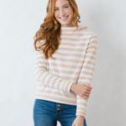 Brighton Boatneck Top in Striped Fleece (Natural Blush / White) | Dudley Stephens