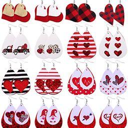 Biokia Valentine Earrings For Women Dangle Layered Buffalo Plaid Earrings Lightweight Faux Leathe...   Amazon (US)