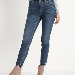 High-Waisted Button-Fly Rockstar Super Skinny Cut-Off Ankle Jeans for Women | Old Navy (US)