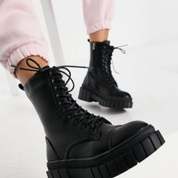 Public Desire Wide Fit Omega chunky lace up boots in black | ASOS (Global)