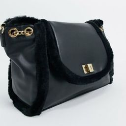 Skinnydip cross body bag in black with faux fur trim | ASOS (Global)
