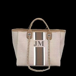 The Lily Canvas Tote Bag Soft Fawn White, Grey and Beige Stripe as per the photo Medium | Lily and Bean