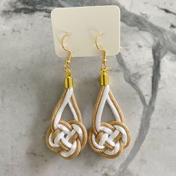Knotical earrings gold/white   Etsy (US)