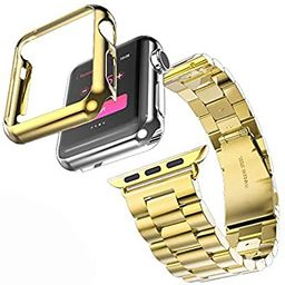 HUANLONG Compatible with Apple Watch Band, Solid Stainless Steel Metal Strap Band w/Adapter+Case ...   Amazon (US)