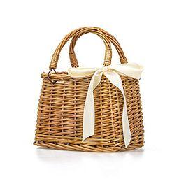 Natural Hand-woven Rectangular Wicker Handbag Basket Purse Retro Summer Women Straw Tote (Rectang... | Amazon (US)