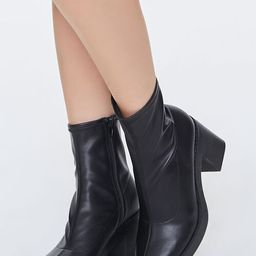 Faux Leather Platform Sock Booties   Forever 21 (US)