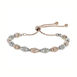 Private Collection Adjustable Silver + Rose Gold Textured Bead Friendship Bracelet   Roma Designer Jewelry