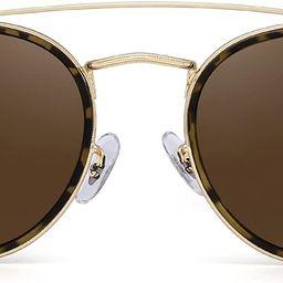 Small Polarized Round Sunglasses for Women Vintage Double Bridge Frame | Amazon (US)
