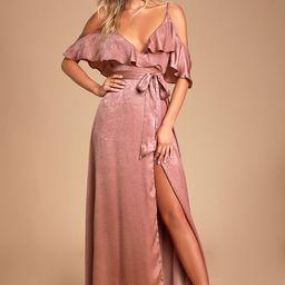 Moriah Rose Satin Wrap Maxi Dress | Lulus (US)