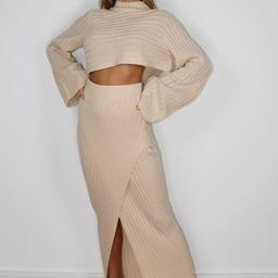 Missguided - Stone Co Ord Asymmetric Knitted Midaxi Skirt | Missguided (UK)