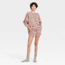 Women's Spotted Heart and Leopard Print Pajama Set - Soft Pink   Target