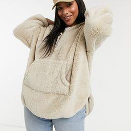 Only Curve teddy hoodie with zip neck in beige | ASOS (Global)