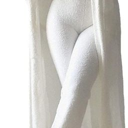Women's 3 Piece Teddy Lounge Wear Tank Top Wide Leg Pants Cardigan Jacket Fleece Pajamas Set | Amazon (US)