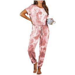 Selfieee Women's Tie Dye Pajamas Long Sets V-Neck Short Sleeve Pants Sleepwear Pj Sets 30044 Red ...   Walmart (US)