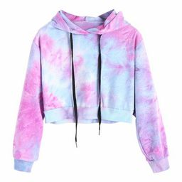 Women Autumn Winter Water Color Hoodies Multicolor Long Sleeve Hooded Cropped Sweatshirt Drawstri...   Walmart (US)
