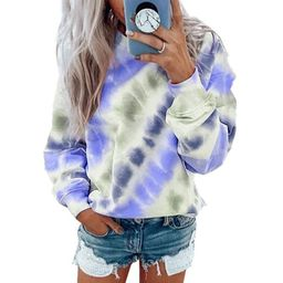 Womens Tie Dye Plus Size Shirts Loose Long Sleeve Blouse Casual Tops Sweatshirts   Walmart (US)