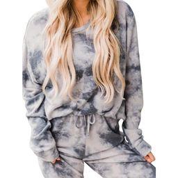 Black Friday Women's Long Sleeve Tops and Pants Tie Dye Printed Pajamas Set Joggers Sets Nightwea...   Walmart (US)