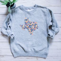 Texas Toddler Sweatshirt - Kids Crew Neck - Texas Kids Gift - Floral Texas Sweatshirt - More Fabr... | Etsy (US)