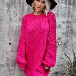 Solid Drop Shoulder Oversized Knit Dress   SHEIN