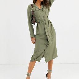 ASOS DESIGN utility button through midi shirt dress in light khaki-Green | ASOS (Global)