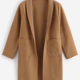 Shawl Collar Pocket Detail Outerwear | SHEIN