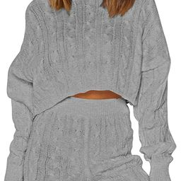 Women's 2 Piece Sweater Short Set Puff Sleeve Pullover Knitted Loungewear Outfits | Amazon (US)
