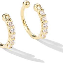 Ear Cuff Clip On Fake CZ Earrings Small Hoop Huggies Sterling Silver Cubic Zirconia No Piercing C...   Amazon (US)