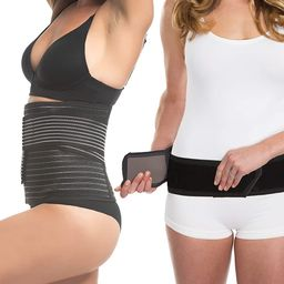 UpSpring Shrinkx Postpartum Belly and Hip Wrap Bundle; Postnatal Compression for Women after Preg... | Amazon (US)