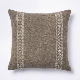 Woven Wool Cotton Square Throw Pillow Brown/Cream - Threshold™ designed with Studio McGee | Target