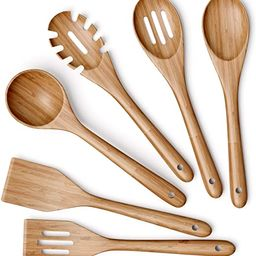 Wooden Kitchen Utensils Set - 6 Piece Non-Stick Bamboo Wooden Utensils for Cooking - Easy to Clea...   Amazon (US)