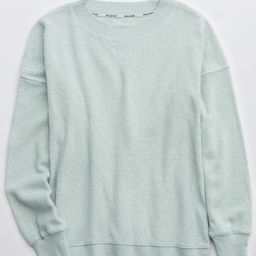 Aerie Cozy Good Vibes Oversized Sweatshirt Women's Dusty Sage S | American Eagle Outfitters (US & CA)