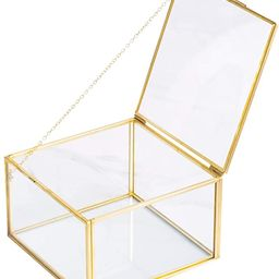 Golden Square Vintage Brass & Clear Glass Decorative Box Home Decor, Small Jewelry Case Box Organ... | Amazon (US)