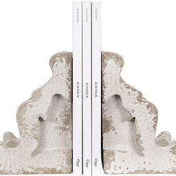 Creative Co-op Distressed White Corbel Shaped Bookends (Set of 2 Pieces) | Amazon (US)