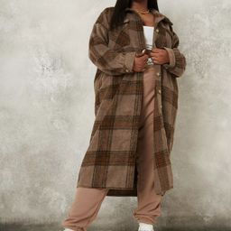 Plus Size Brown Plaid Brushed Back Spliced Shacket | Missguided (US & CA)