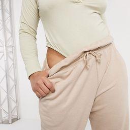 Missguided Plus paperbag waist sweatpants in beige | ASOS (Global)