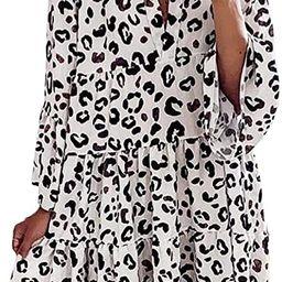 Happy Sailed Womens Long Sleve Leopard Print Tunic Shirt Dress V Neck Casual Loose Flowy Swing Sh...   Amazon (US)