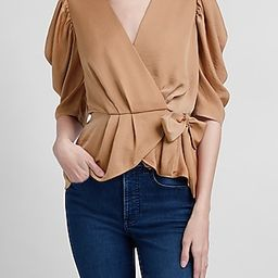 Puff Sleeve Wrap Front Top   Express
