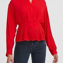 Cinched Waist Button-Up Shirt   Express