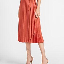 High Waisted Pleated Wrap Midi Skirt   Express