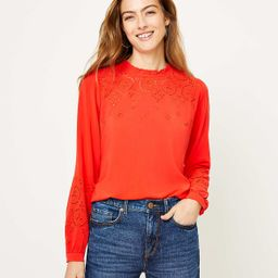 Embroidered Ruffle Neck Blouse | LOFT