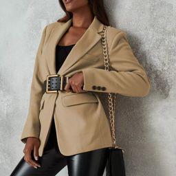 Tan Boyfriend Blazer Coat   Missguided (US & CA)