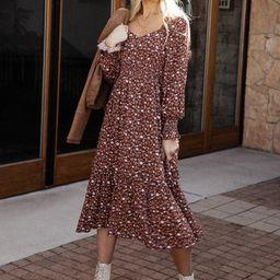 Abrielle Midi Dress in Maroon | Bohme