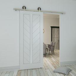 Paneled Wood Primed Chevron Barn Door without Installation Hardware Kit | Wayfair North America