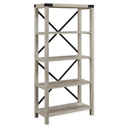 Forest Gate Englewood Farmhouse 64-Inch Bookcase in White Oak | Bed Bath & Beyond
