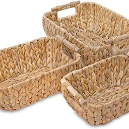 VATIMA Water Hyacinth Wicker Storage Baskets for Organizing, Wicker Baskets for Storage, Stackabl... | Amazon (US)