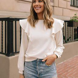 The Drop Women's Whisper White Ruffled Sweatshirt by @fashion_jackson   Amazon (US)